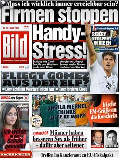 """Angela Merkel thinks we're at work"" flag makes the front page of German tabloid newspaper Bild, #DontTellMerkel"