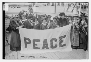 Peace Delegates on NOORDAM -- Mrs. P. Lawrence, Jane Addams, Anna Molloy  (LOC)