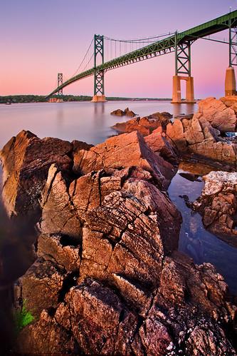 longexposure bridge sunrise bristol rhodeisland narragansettbay canonef1740mmf4l mounthopebridge singhraygoldnbluepolarizer 5dmarkii bw30nd