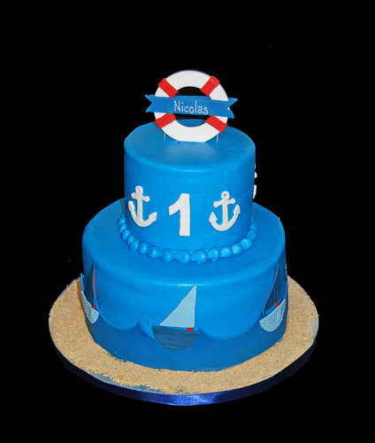 1st and 40th nautical themed birthday cake - 1st side
