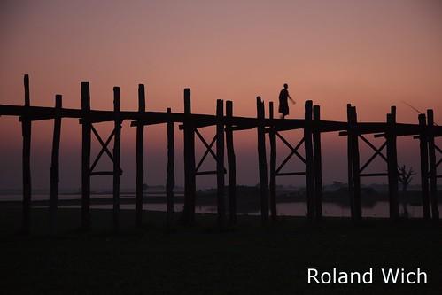 bridge sunset silhouette evening dusk burma silhouettes bein u myanmar birma mandalay amarapura ubein birmanie birmania