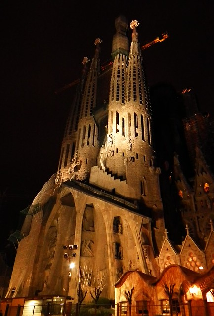 La Sagrada Família at night - Barcelona, Spain