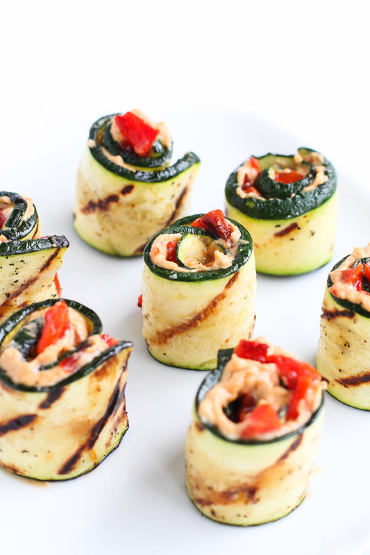 Grilled Zucchini Hummus Roll-Ups…Healthy, easy and pretty summertime appetizer! 43 calories and 1 Weight Watchers Freestyle SP #vegetarian #appetizer #zucchini