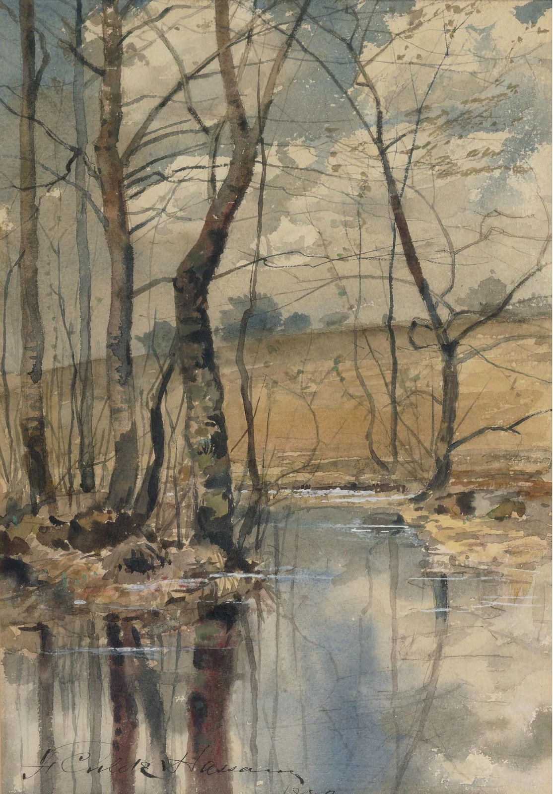 Woodland Pond by Frederick Childe Hassam - 1882