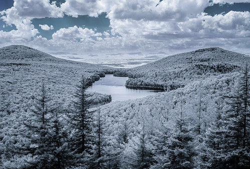 pond summer supercolorir landscape infrared grotonstatepark owlsheadoverlook groton vermont mountain kettlepond lifepixel unitedstates us