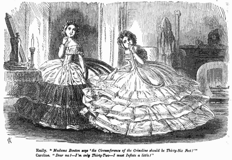 Cartoon in Punch satirizing the circumference of crinolines