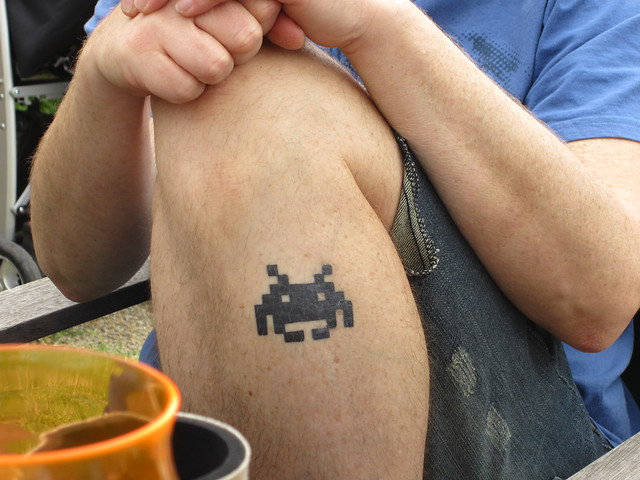 Rik's Space Invaders tattoo