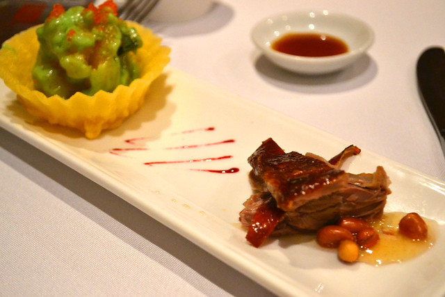 Sliced Roasted Duck accompanied  with Wasabi Prawn in Golden Cup, Peach Garden