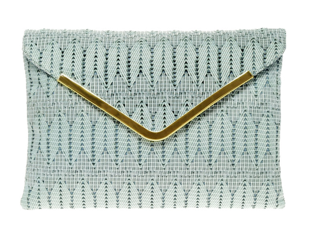 mint woven clutch bag with gold hardware