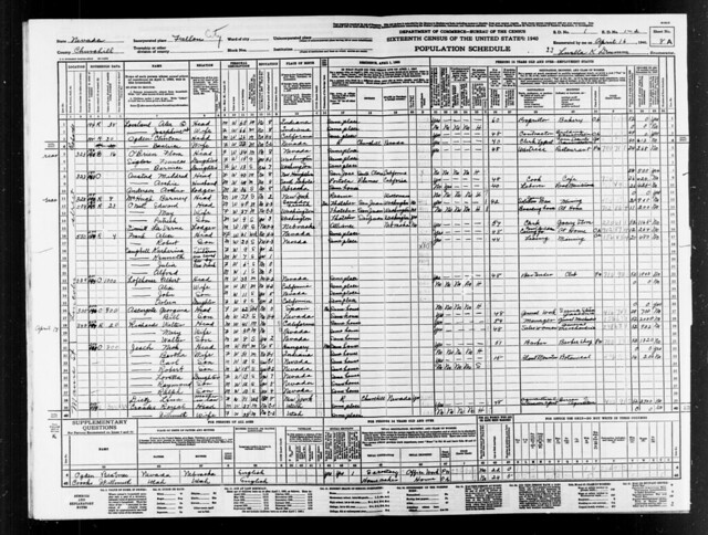 1940 Census Nevada Royal and Willmuth Crook