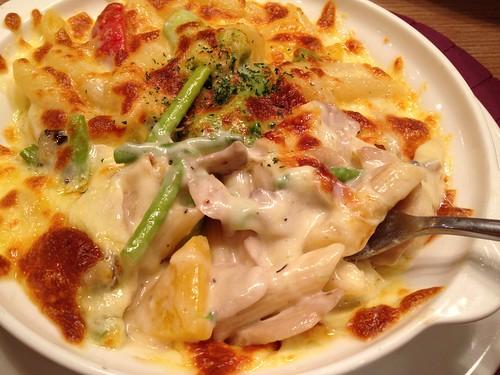 奶油鮮菇什蔬焗烤斜管麵