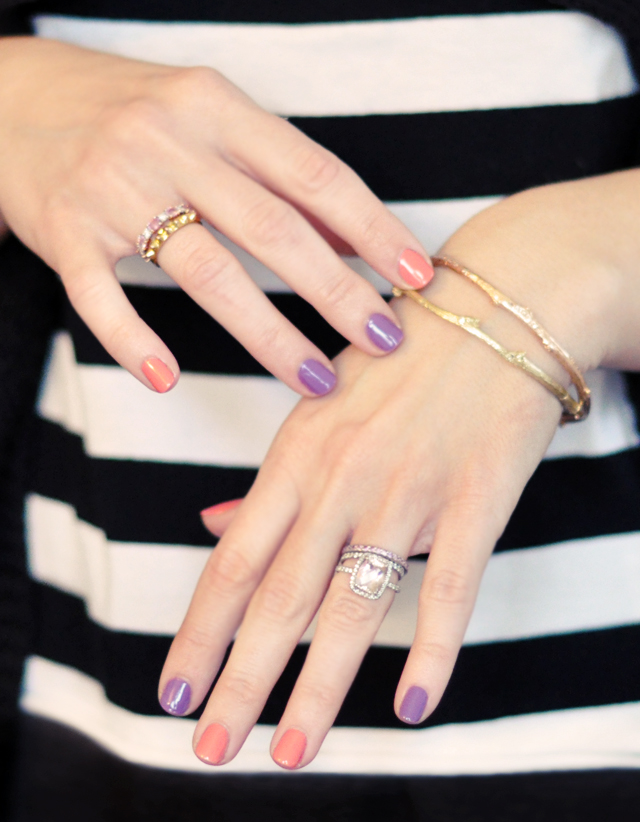 coral and purple nails - alternating colors manicure