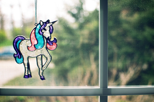 Stained glass unicorn.