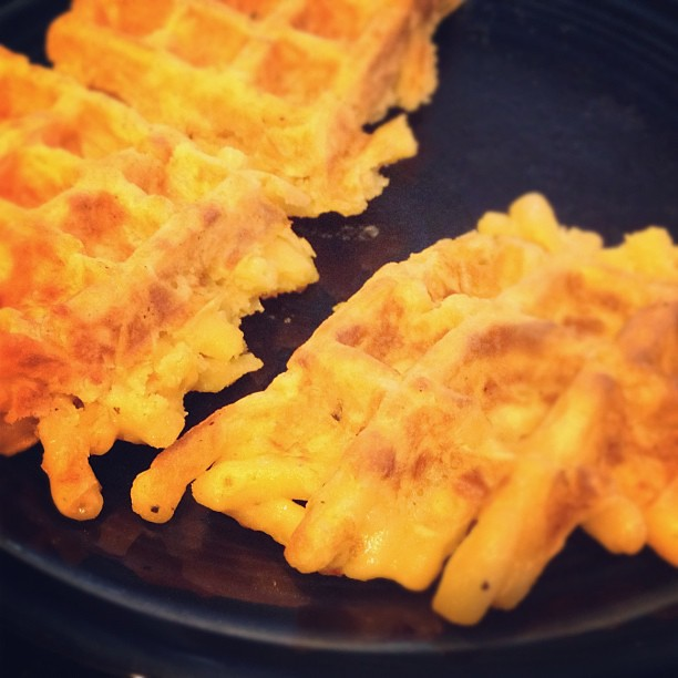 Macaroni and cheese waffle. Yep. | Flickr - Photo Sharing!