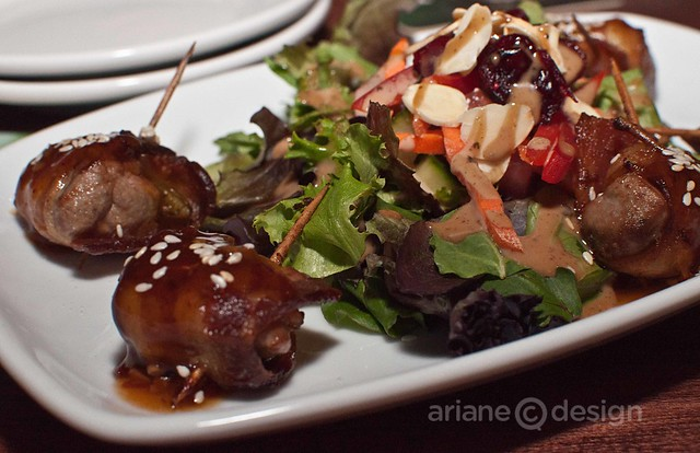 Duck bites - Duck marinated in chipotle & ginger, wrapped in bacon, sweet sesame soy glaze