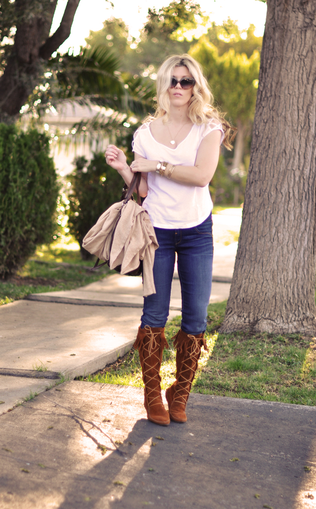 jeans-Minnetonka Moccasin boots-white t shirt