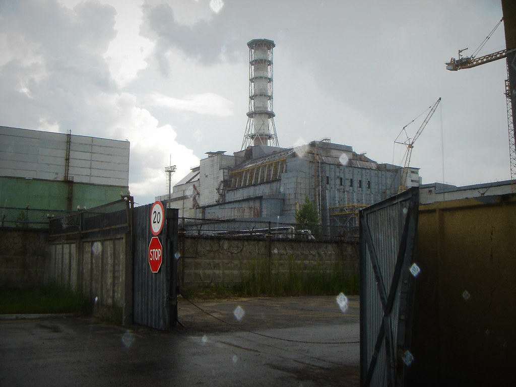 "The destroyed Chernobyl nuclear power plant, showing the steel and concrete ""sarchophagus"" built to contain Reactor No. 4, which is still dangerously radioactive. www.visitsunnychernobyl.com"