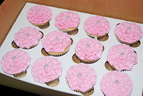 pink ruffle cupcake with silver pearl center
