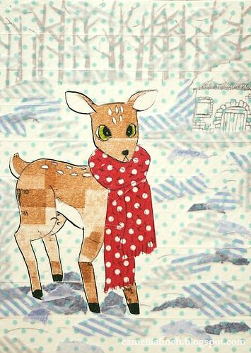 去一趟新竹動物園回來就畫了小鹿 只是看起來好呆...