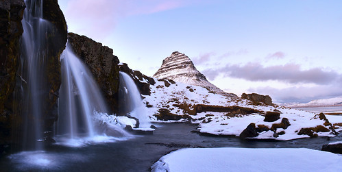 longexposure sunset mountain snow clouds waterfall iceland kirkjufell snæfellsnes grundarfjördur