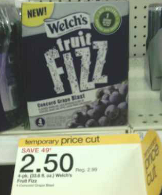 target welch's fruit fizz price cut