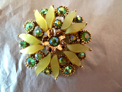 Green Lucite & AB Crystal Brooch