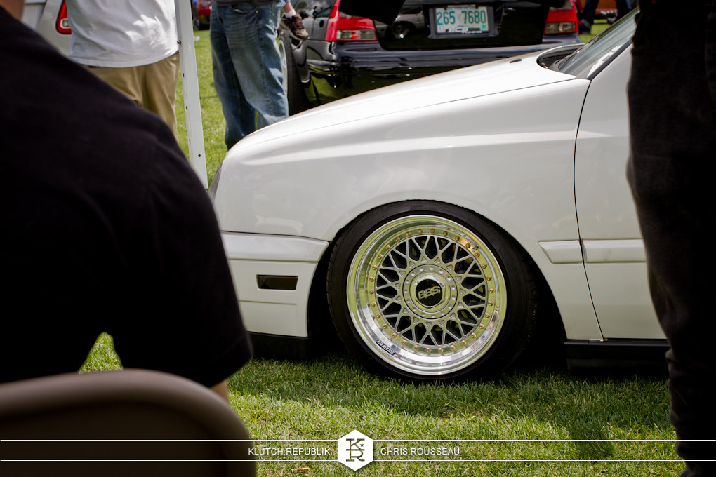 white mk3 vw low and fitted on bbs rs wheels at staggered 2012