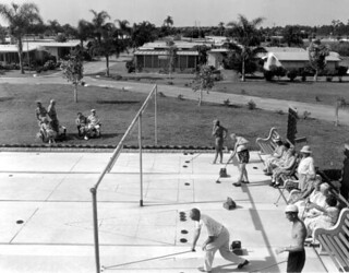 Retirees play shuffleboard at the trailer park: Clearwater, Florida