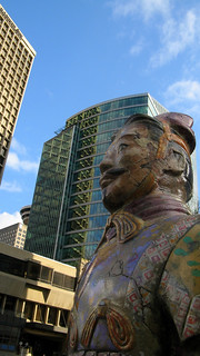 A Terracotta Warrior takes in a downtown view