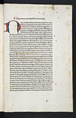 Decorated initial in Lactantius, Lucius Coelius Firmianus: Opera