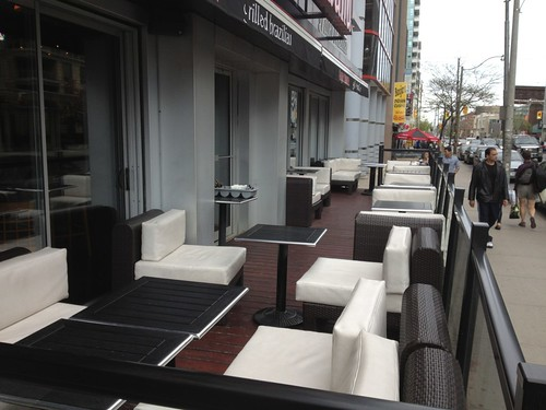 outdoor patio furniture at restaurant in Toronto