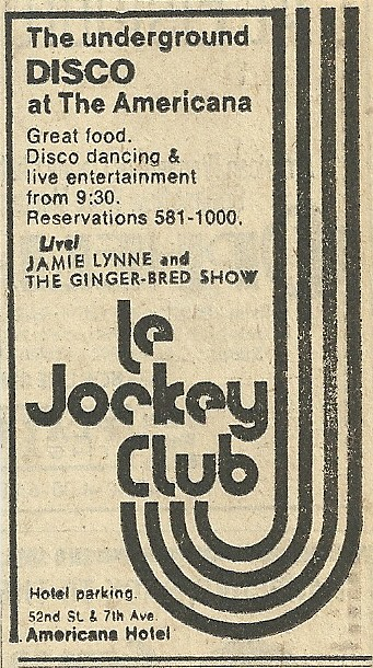 1974 New York City: Le Jockey Club Ad