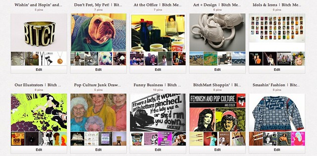screen shot of the Bitch Media pinterest page