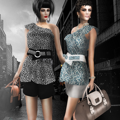"X A N A D U - ""Girly Spring"" Leopard Black&White / -Jaguar Glitter Top White&Blue & Short"
