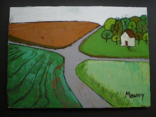 Shell Road intersection, acrylic, Barbara Mowery 2012