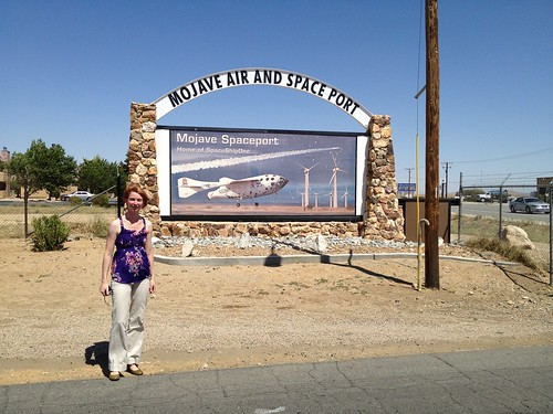 Emily and Mojave Spaceport sign