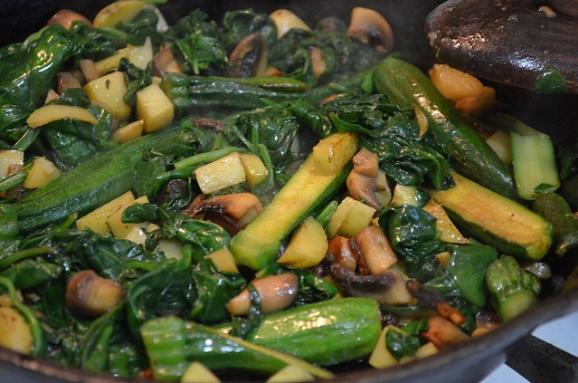 veggies sauteeing in butter and olive oil