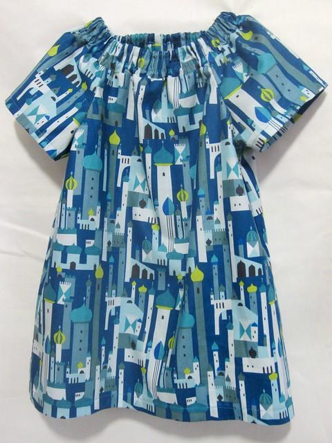 blue cityscape tunic