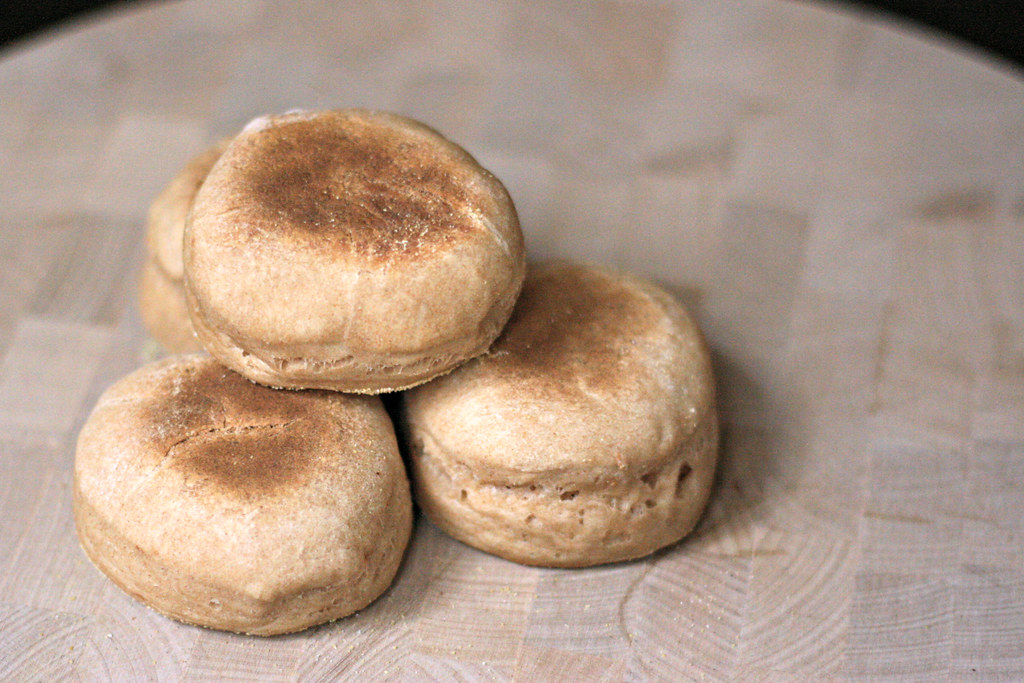 wheat english muffins crumpets, toasted