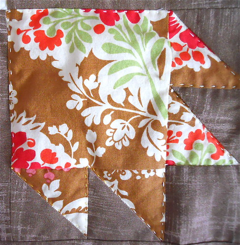 hand quilting with variegated lemony Aurifil 12 wt