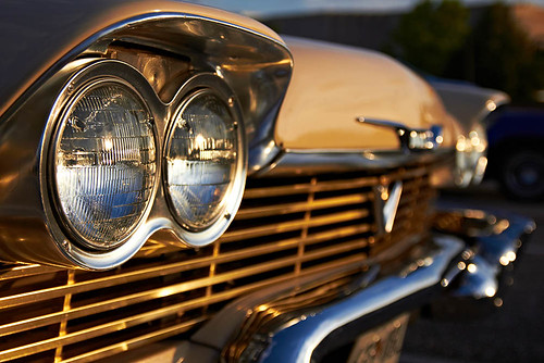 sunset classic cars vintage reflections gold plymouth chrome 1958 headlight fury