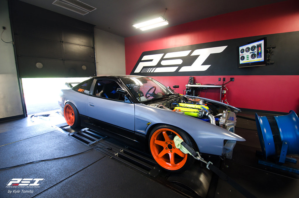 Nik's Nissan S13 KA-T on the dyno at PSI - Front