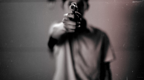 無料写真素材, 人物, 銃, モノクロ