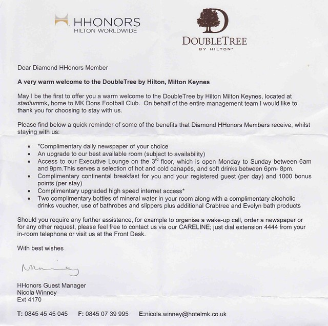 Doubletree by hilton hotel milton keynes gbr flyertalk forums welcome letter hope this has been of use and interest and adds to the rest of the reviews above altavistaventures Gallery