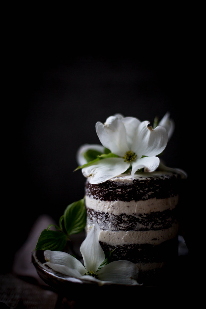 rich, moist chocolate lavender cake with mascarpone earl grey german buttercream