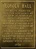 Loyola Hall dedication plaque, 1956