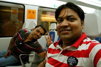 Prosanto & Myself onboard Airport Metro