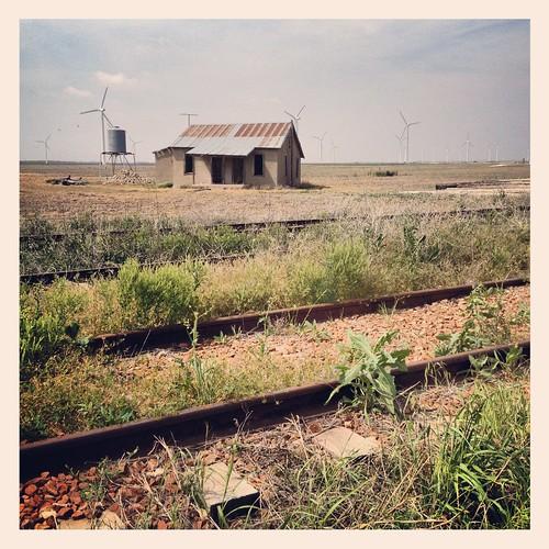 railroad house west abandoned landscape energy texas wind farm tracks windmills
