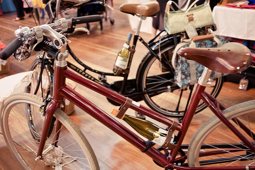 How you transport wine on a bicycle, Finders Keepers Market Melbourne