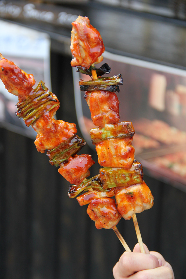 Extremely tasty skewers of Dakkochi